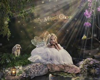 2 Digital background for fairy, 2 versions of fairytale pond,  backdrop with a rabbit, duck, bird, fireflies .. magical prop for photography