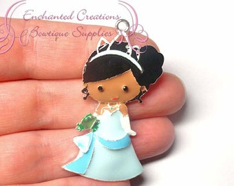 "2"" Tiana With Frog Friend Inspired Charm, Chunky Pendant, Keychain, Bookmark, Zipper Pull, Chunky Jewelry, Purse Charm"