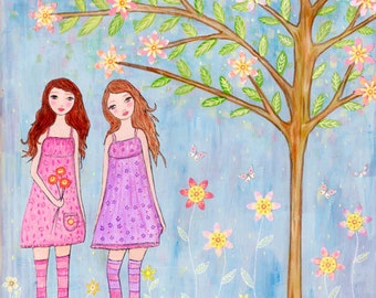 Original Painting, Mixed Media Sister Folk Art Painting