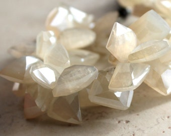 Ivory White Pearl Chalcedony Faceted Freeform Trapezoids 15 X 10mm - 4 inch Strand