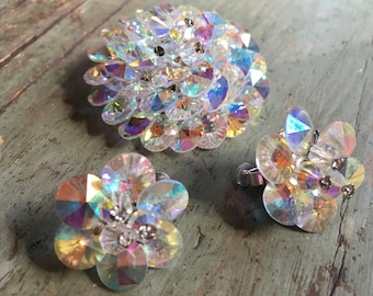 Sparkling Vendome Crystal Brooch and Earring Demi Parure