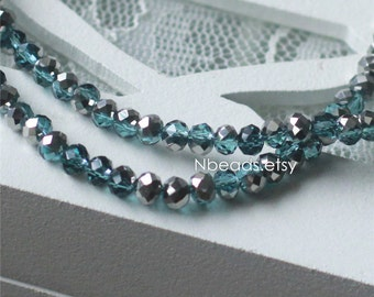 Crystal Glass Rondelle Faceted beads 3x4mm Blue Black-(BZ04-131)/ 145pcs