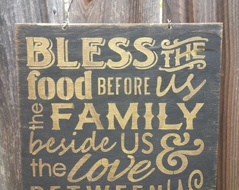 fall decor, fall decorations, fall signs, fall decor signs, fall decorating, bless the food before us, blessed sign, 67/89