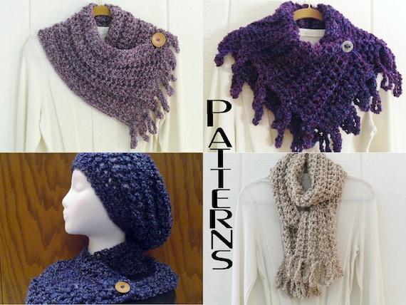 Button Cowl Fringe 5 Crochet Patterns Scarves Loopy Fringe 5 Big