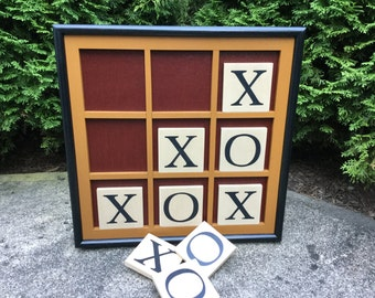 Game Board, Wood, Tic Tac Toe, Wooden Game Boards, Primitive, Hand Painted, Folk Art