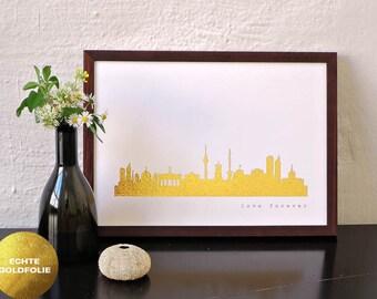 Gold Berlin Artwork, Berlin City Print, Berlin Gold Art Poster, Berlin Gift, Berlin Gold Decor, Berlin for Newbies, Gold foil print 44spaces