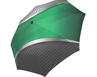 Green Umbrella Grey Umbrella Designed Umbrella Metallic Pattern Umbrella Art Umbrella Photo Umbrella Automatic Foldable Umbrella