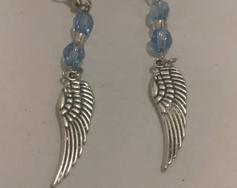 Angel Wing Earrings with Blue Beads