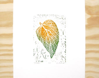 "Woodblock Print - ""Hackberry"" Leaf Print - Fall Autumn Leaves - Orange and Green"