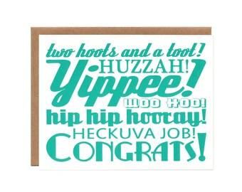 Congrats -- Recycled Screenprinted Card