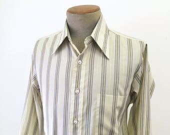 1970s Men's Striped Disco Era Shirt Vintage Cotton & Polyester Long Sleeve Shirt by The Arrow Collar Man - Size MEDIUM
