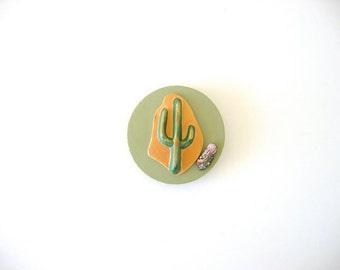 Magnet, refrigerator magnet, ceramic magnet, Southwestern magnet, cactus with polished stone
