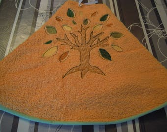salmon color Terry towel embroidered d customizable tree