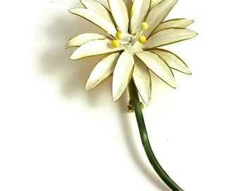 Vintage White Flower Brooch Enameled Sandor 1960s Wedding Bouquet
