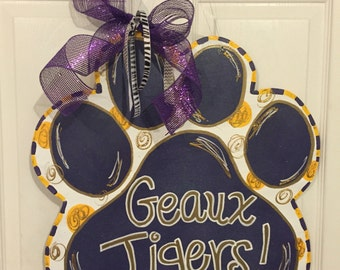 LSU Geaux Tigers paw door hanger
