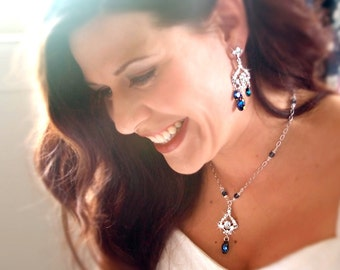 JASMINE Peacock Blue Chandelier Bridal Necklace and Earrings Set with Back Drop Lariat