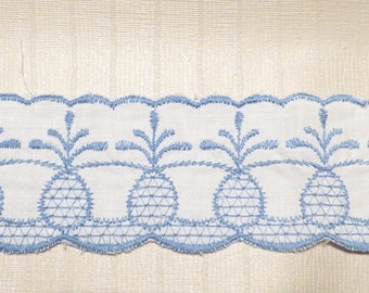 WHITE COTTON RIBBON EMBROIDERED BLUE PINEAPPLE