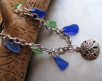 Rare Cobalt Blue and Green Beach Glass Bracelet - Sand Dollar Charm - Heart Clasp - Prince Edward Island Pure Sea Glass - Ocean Jewelry Gift
