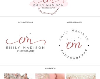 Hexagon logo design, Hexagon shape logo, Hexagonal logo, Premade rose logo, Modern rose logos, Watercolor logo package, Photographers logo