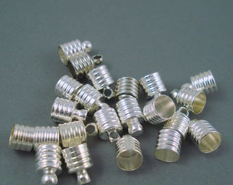Destash 6MM Lightweight End Cap for Leather and Cord, Vial and Bottle Cap, Twenty Two Pieces
