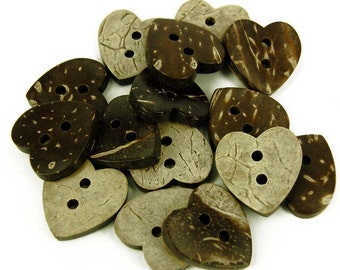 12 x Natural Coconut Shell Buttons - Heart Shaped Hearts- 17mm B31