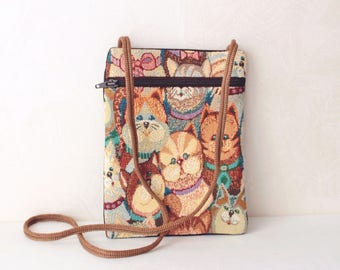 Cat bag Cats crossbody bag Cat lover pouch Crossbody pouch Crossbody wallet Crossbody purse Summer gift for women Gift for daughter