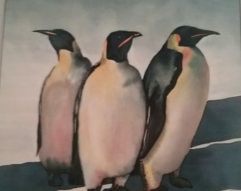 Vintage Original  WatercolorPenguin Painting by Michelle L.  12/86 Signed by Artist