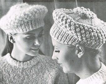 Women's vintage knitting pattern - Jaunty Hat - PDF knitting pattern - Knitting patterns for women - retro 60's