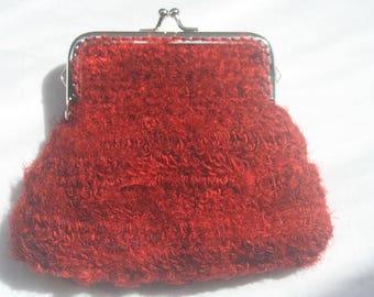Red freeform crochet purse