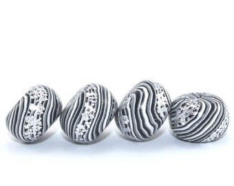 Rondelle beads, Polymer Clay beads, round pressed stripes beads in black, white, gray and silver, 4 elegant beads for Jewelry Making