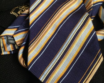 70s Jos. A. Bank Silk Stripe Tie Mens Striped Necktie Purple Yellow