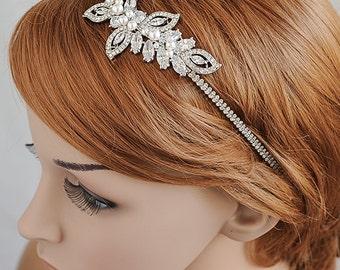 Crystal Wedding Headband, Bridal Headband, Leaf Vine Headband, Swarovski Pearl Hairband, Bridal Hair Vine, Hair Accessories, AUGUSTINA