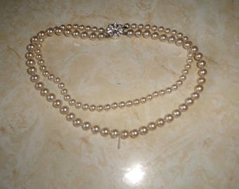 vintage necklace double strand faux pearls rhinestones flower clasp