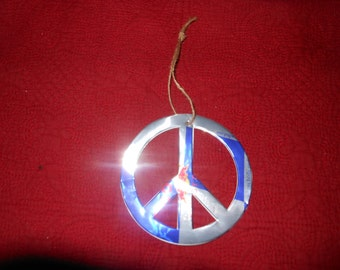 Red Bull Peace Sign Ornament, Recycled Red Bull Energy Drink Can, Hippie Peace Sign Ornament, Peace Sign Christmas Ornament Gift Topper