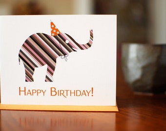Striped Elephant in Party Hat Birthday Card - 100% Recycled Paper