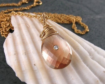 Oregon sunstone & diamond necklace-14k gold filled necklace