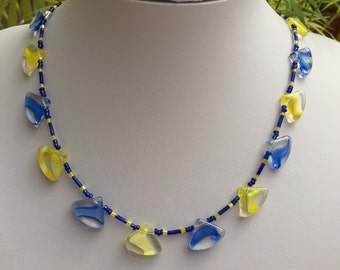 Hand Crafted Blue & Yellow Glass Triangle Beaded Necklace.