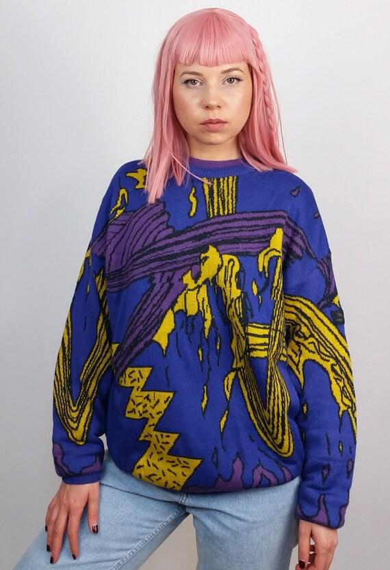 Print Pullover Novelty Knit 80's Comics Vintage Sweater Unisex Jumper 90's PUMA Pattern PUMA BxYaOq1w