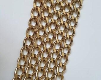 Gold 8mm Diamond Cut Curb Chain - Choose Length