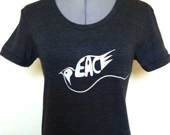 Peace T Shirt Womens Slim Fit TriBlack Sizes Small through XLarge