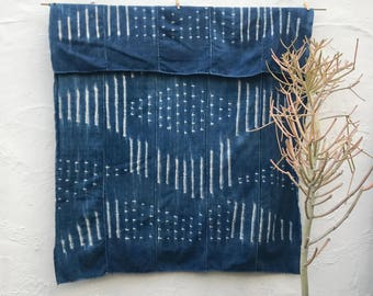 Vintage African Textile | African indigo blanket Indigo Textile Indigo Mudcloth African Mudcloth Indigo Cloth Beach Blanket tribal fabric 90