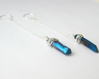 Blue Iridescent Titanium Quartz Wire Wrapped Sterling Silver Dangle Earrings