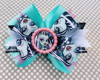 Monster High Frankie Stein Mint Pink Snap Style Hair Bow Bottle Cap