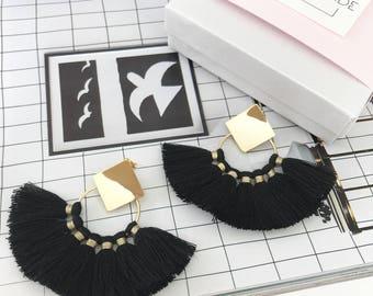 Fan Tassel Earrings, Gold Tassel Earrings, Dangle Earrings, Drop Earrings, 16K Platted, Boho, Minimalistic