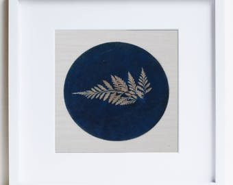 Botanical Art, original cyanotype, upcycled