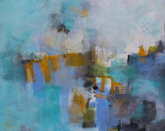 Contemporary Abstract acrylic mixed media original painting  36 x 36  The Last Mile by  artist and author Jodi Ohl