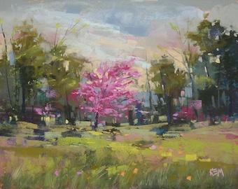 Red Bud Spring Landscape Original Pastel Painting Karen Margulis 8x10