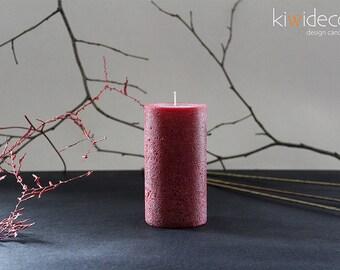 """Handmade Rustic Pillar Candle Dark Red 55 x 105mm (2.16 x 4.13"""") Scandinavian design Home decor"""
