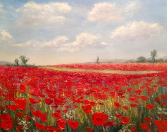 Poppy Field Painting Palette Knife Original Oil Painting Landscape Painting Poppy Painting Modern Art Work Custom Oil Painting Impressionism