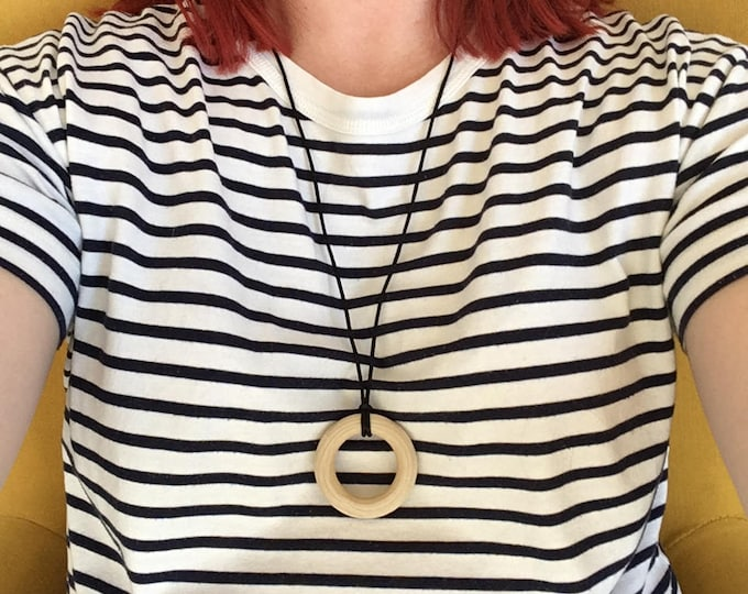 "Wooden teething ring necklace - pendant featuring organic untreated Canadian maple hardwood 2"" ring hoop bead by Little Gnashers"